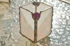 Stained Glass Firelight Candle Holder with Purple by DianeMarieArt