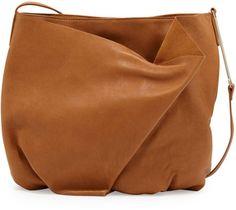 Halston Heritage Folded-Front Hobo Bag, Toffee on shopstyle.com