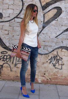 @roressclothes closet ideas #women fashion Colored Pumps Outfit Idea