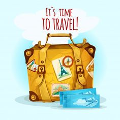 Travel Concept With Suitcase Free Vector