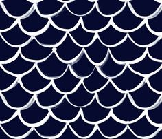 Fish  Scale White on Navy fabric by the_art_room on Spoonflower - custom fabric