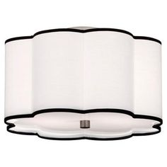 "Flower Drum Shade Ceiling Light 2 finishes! A scallop-shaped drum shade makes an updated yet fun ceiling light. Choose from white with black trim shade with Satin Nickel hardware or Cream with Cocoa trim shade with Antique Brass hardware.2x100 watts. (9.75""Hx16""W) 2x100 watts. (medium base socket), $259"