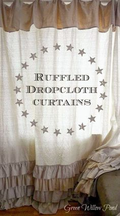 These ruffled dropcloth curtains from Deborah at Green Willow Pond are amazing! | Be Inspired Features and Link Party #115