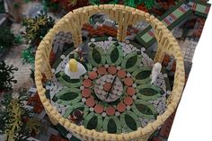 Lego model of Rivendell, White council mosaic floor, by Alice Finch. Via Flickr.
