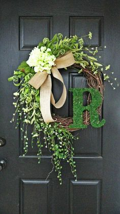 "Smaller Version of The ""Louisa"" Wreath :) Intricate Designed Summer Wreath, French Country Wreath, With Moss, Burlap and Hydrangeas .get rid of the ""R"" Front Door Decor, Wreaths For Front Door, Door Wreaths, Wreath Crafts, Diy Wreath, Moss Wreath, Wreath Ideas, Wreath Burlap, Burlap Ribbon"