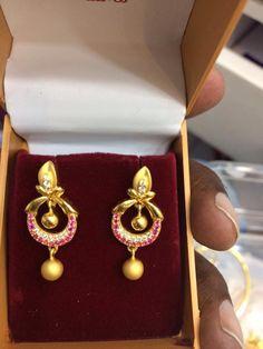 Gold Earrings For Kids, Baby Earrings, Gold Bridal Earrings, Gold Wedding Jewelry, Gold Jewelry, Gold Ring Designs, Gold Earrings Designs, Gold Jewellery Design, Danty Jewelry