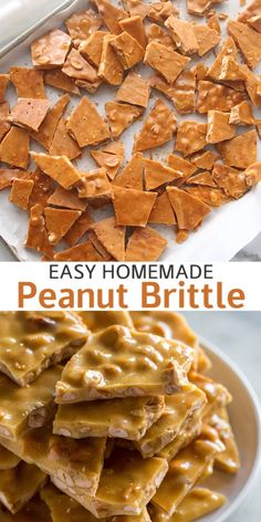This easy homemade Peanut Brittle is an old-fashioned sweet hard candy made on the stovetop with six simple ingredients and roasted peanuts. Its a family favorite during the holidays but can be enjoyed any time of year! - Candy - Ideas of Candy Dessert Simple, Homemade Sweets, Homemade Candies, Homemade Candy Recipes, Easy Sweets, Hard Candy Recipes, Sweet Recipes, Köstliche Desserts, Dessert Recipes