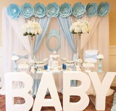 blue-and-white-elephant-themed-baby-shower-dessert-table