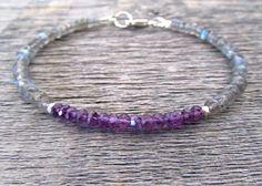 labradorite & amethyst bracelet, labradorite bracelet, february bracelet, february birthstone bracelet, chakra bracelet, bracelet for women