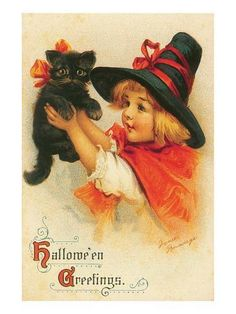 """Add this to your Halloween decorations. The little girl """"witch"""" and her black cat, a print originally done in the is perfect for Halloween Retro Halloween, Chat Halloween, Vintage Halloween Cards, Victorian Halloween, Halloween Greetings, Halloween Prints, Halloween Pictures, Vintage Holiday, Holidays Halloween"""