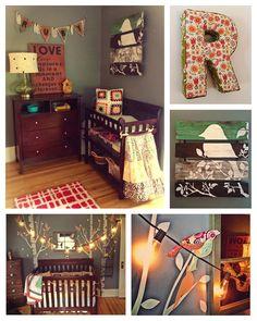 DIY eclectic baby girls nursery - crochet breathable bumper - fabric birds on string lights - burlap name banner