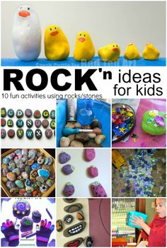 10 Activities and ideas using rocks / stones. 10 Activities and ideas using rocks / stones. Craft Activities For Kids, Projects For Kids, Diy For Kids, Craft Projects, Craft Ideas, Rock Crafts, Crafts To Do, Crafts For Kids, Toddler Fun