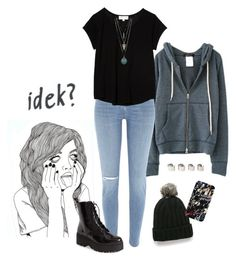 """idek?"" by kcrxx ❤ liked on Polyvore featuring River Island, Jeffrey Campbell, MANGO, The Lady & The Sailor, Maison Margiela, Boots, rippedjeans, beanie, hoodie and Tshirt"