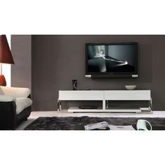 Largest TV / Plasma Stands and Armoires collection: The Agent offers the modern lifestyle with supreme elegance. Sleek and unique B-Modern Agent White High-Gloss TV Stand with Black Glass Top has stra Contemporary Tv Stands, Contemporary Design, Tv Plasma, Entertainment Furniture, Entertainment Centers, Cool Tv Stands, White Tv Stands, Inside Home, Modern Tv