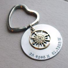 Longitude Latitude Coordinates Personalized Custom Keychain www.kennebugboutique.com
