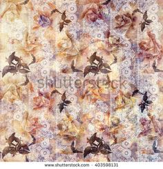 Grunge old roses floral white lace pattern background   - stock photo