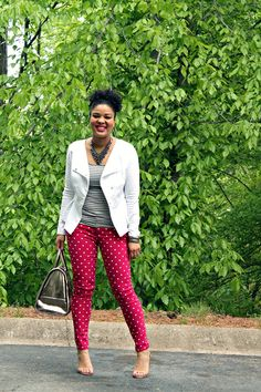 How to Wear Pink Polka Dot Jeans