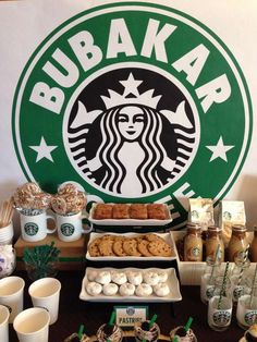 Starbucks Cafe dessert bar party!  See more party planning ideas at CatchMyParty.com!