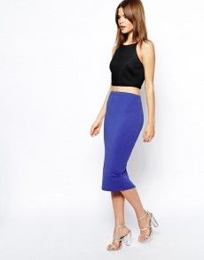 Find the best selection of ASOS Midi Pencil Skirt in Jersey. Shop today with free delivery and returns (Ts&Cs apply) with ASOS! Asos, Mi Long, Dress Skirt, Personal Style, High Waisted Skirt, Pencil, Skirts, Outfit, Cobalt