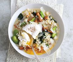 Spring Vegetable Risotto with Poached Eggs Recipe | Epicurious.com