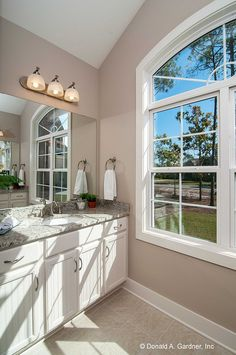 Plan #1302 - The Bluestone. Get ready to start your day with lots of natural light in this master bathroom. http://www.dongardner.com/plan_details.aspx?pid=4413. #Master #Bathroom #NaturalLight