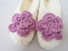 Slippers socks Adult Wool Ivory Crochet Slippers by BloomedFlower, $26.00
