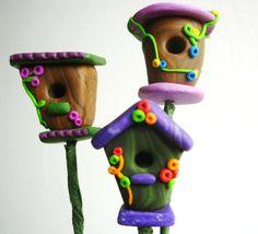 birdhouses miniature- plant decoraration birdhouse shaped handmade with polymer clay