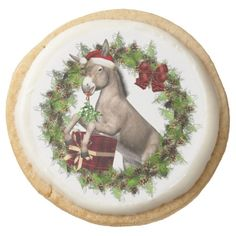 Christmas Donkey Santa round shortbread cookies are sure to make your holidays a little sweeter! A great addition to your holiday festivities, parties or a wonderful gift for family and friends too!  For more delicious cookies, treats and gifts with this art design please visit our shop! #donkey #shortbreadcookies #christmasdessert #christmasdonkey #italianchristmasdonkey #christmascookies #zazzle #cookies #italiancookies