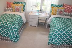 Custom dorm duvets and bright monograms, shams