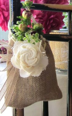 Rustic Wedding Chair Decoration 6 Burlap by InTheBluebellWoods, $36.00 #rustictheme #weddingchairs