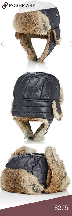 """NWT Nathaniel Cole by Crown Cap Aviator w/Fur Crafted of black quilted nylon, Crown Cap's trapper-style Aviator hat is styled with natural rabbit fur trim. Turned-up double-snap bill. Button-down flap at earflaps. Chin strap. Secures with clip-fastener buckle. 25""""/64cm circumference (approximately). Lined. Available in Black. 100% nylon. Lining: 100% polyester. Interlining: 100% polyester. Trim: 100% natural rabbit fur. Specialty care. Imported. Rabbit fur country of origin: Canada Style #…"""