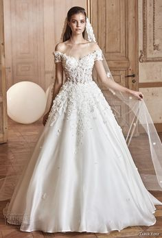 tarik ediz 2017 bridal off the shoulder sweetheart neckline heavily embellished bodice romantic princess a  line wedding dress (5) mv -- Tarik Ediz White 2017 Wedding Dresses