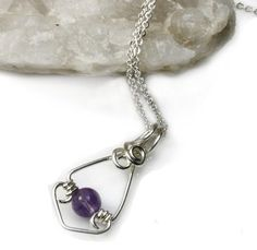 Sydney-based - Soothing Amethyst gemstone is used in this handmade Pendant with sterling silver wire wrapped creating a gorgeous minimalist pendant, Shop online- 2170 - Sydney Fashion Jewellery, Women's Fashion, Mass Market, Handcrafted Jewelry, Handmade, Sale Sale, Amethyst Gemstone, Wire Wrapped Pendant, Silver Jewellery