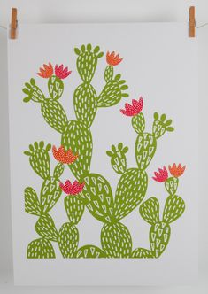 A3 cactus giclee print by MaggieMagoo Designs by maggiemagoodesigns on Etsy