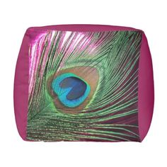 Magenta Peacock Cube pouf seat
