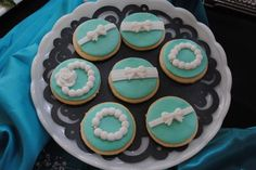 Pretty cookies at a Tiffany's Bridal Shower #tiffanys #bridalshowercookies