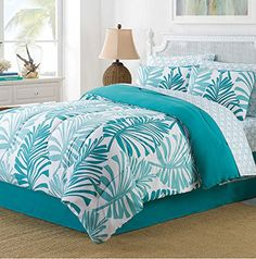 Turquoise Palm Leaves Tropical Beach King Comforter Set (8 Piece Bed In A Bag) + HOMEMADE WAX MELT Island Living http://www.amazon.com/dp/B017DLQG24/ref=cm_sw_r_pi_dp_3yl5wb19QATT9