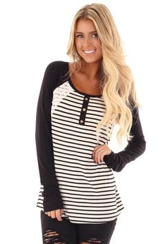 1041331bd1 Lime Lush Boutique - Black and White Striped Raglan Top with Lace Detail