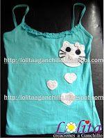 """Lolita a Ganchillo: Camiseta con una """"Hello Kitty"""""""