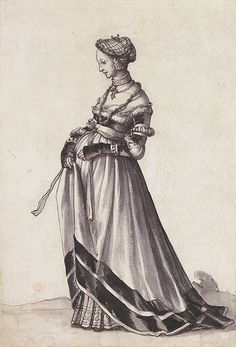 The gown that the maid is handing to the Countess in the Dance of Death picture appears to be this one.  Basel Woman Turned to the Left c.1523