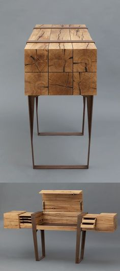 This wooden desk with all its elegant hidden drawers inside, is the creation of Simon Schacht for his master craftsman diploma. Photos by Wolfgang Pulfer — Wood — Pixodium Wooden Desk, Wooden Furniture, Cool Furniture, Furniture Design, Wood Table, Contemporary Furniture, Office Furniture, Furniture Ideas, Wood Projects