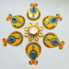 Sunflower Rangoli/ Floor Art Set of 7 by SukritiCrafts on Etsy