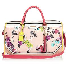73bc0338ec82 Pink floral print weekend bag - luggage - bags   purses - women River Island  Handbags