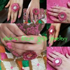 Rainbow Dazzle Gota Jewellery  Handnade gota flower ring with a mirror