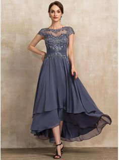 Trumpet/Mermaid Scoop Neck Asymmetrical Chiffon Lace Mother of the Bride Dress With Beading Sequins - JJ's House Mother Of The Bride Dresses Long, Mother Of Bride Outfits, Mothers Dresses, Mother Bride, Bride Groom Dress, Bride Gowns, Mob Dresses, Fashion Dresses, Homecoming Dresses