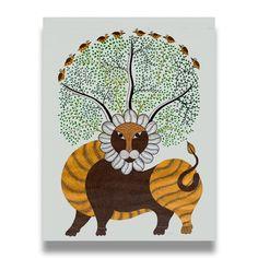Wild Lion, Indian Folk Art, Indian Ethnic, Large Painting, Painting Art, Madhubani Painting, India Art, Traditional Paintings, Indian Paintings