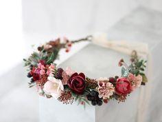 Jaime Iris on Etsy Bridesmaid Hair Flowers, Flower Headband Wedding, Floral Crown Wedding, Fall Wedding Flowers, Flower Headpiece, Wedding Hair Flowers, Bridal Flowers, Flowers In Hair, Flower Hair