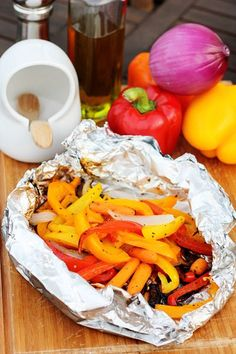 Grilled Vegetables in Foil Packets - I would just spray the foil with Pam, add some garlic powder and 1T of water