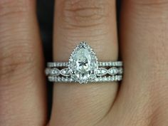 Tabitha & Christie 14kt White Gold Pear FB Moissanite and Diamonds Halo TRIO Wedding Set (Other metals and stone options available)