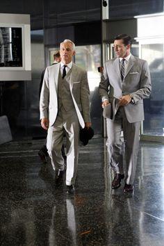 Roger Sterling (John Slattery) and Don Draper (Jon Hamm) ~ Mad Men Episode Stills ~ Season 1, Episode 7 ~ Red in the Face